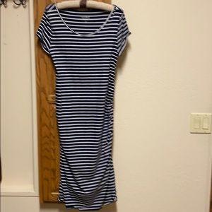 Navy and white stripe maternity dress